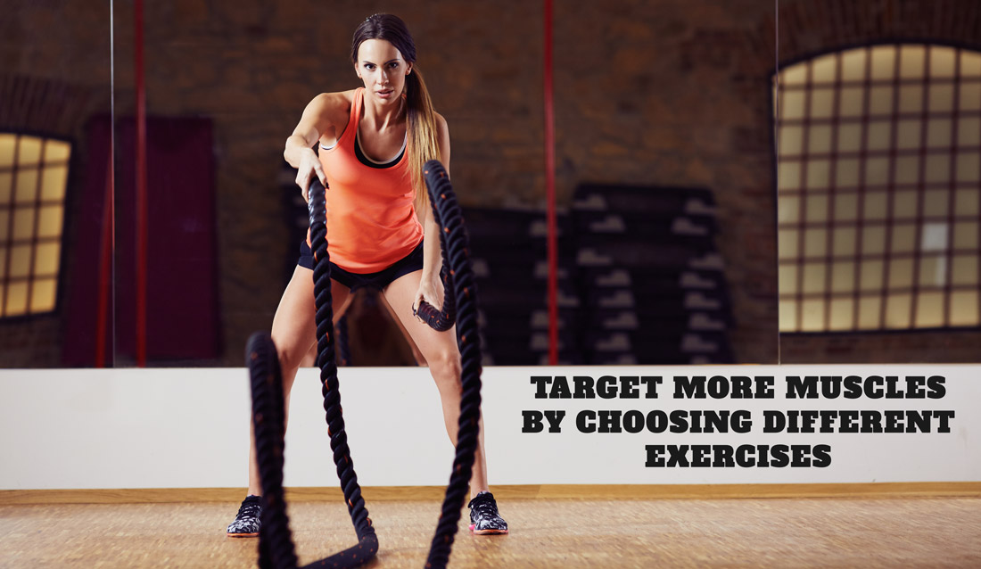 Choose several battle ropes exercises to target different muscles